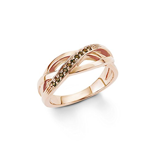 s. Oliver Damen-Ring 925 Silber teilvergoldet Zirkonia braun Rundschliff Gr. 54 (17.2) - 540124