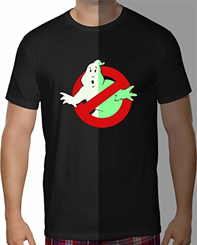 Herren T-Shirt Ghostbusters Glow in the Dark Kurzarm ( Schwarz , M ) (Kurzarm-t-shirt Glow)