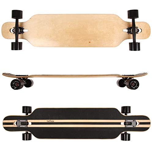 FunTomia® Longboard Skateboard Drop Through Cruiser Komplettboard mit Mach1® ABEC-11 High Speed Kugellager T-Tool mit und ohne LED Rollen (Modell Freerider Ahornholz - Farbe ohne Druck)