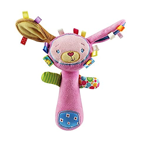 AIPINQI Newborn Baby Plush Squeaker Early Educational Doll Rod Cute Cartoon Musical Plush Toy