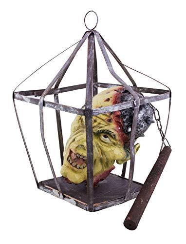 ween Dekoration, Hänge-Deko abgetrennter Kopf im Käfig, 45cm, Hang Decoration Head in Cage, ideal für Jede Halloween Party / Feier, Schwarz ()