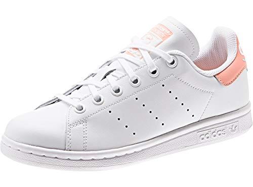 adidas Stan Smith J, Sneakers Basses Mixte Enfant, Multicolore (FTWR White/FTWR White/Glow Pink Ee7571), 37 1/3 EU