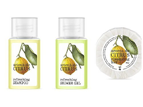 Hotel welcome pack with citrus aroma, total 405 units shampoo, shower gel, and 40 gr soap