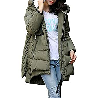 dd40d0957fa03 Petalum Women's Thickened Down Jackets with Hood Long Down Coats Winter  Warm Hooded Parka Coat