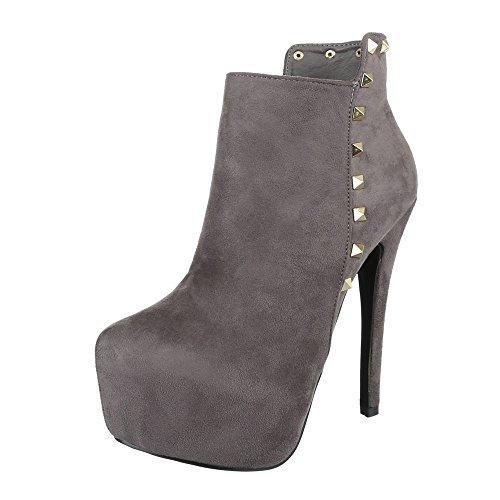 High Heel Stiefeletten Damenschuhe Schlupfstiefel Pfennig-/Stilettoabsatz High Heels Reißverschluss Ital-Design Stiefeletten Grau