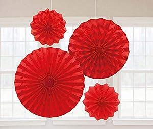 Amscan International-295000-40Apple rojo ventiladores de papel con purpurina