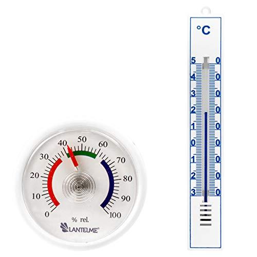 Lantelme 7406 Mini Hygrometer und Kunststoff Thermometer Set - Für Mechanische Temperatur und Luftfeuchtemessung