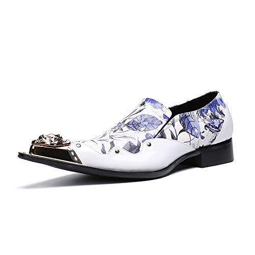 EGS-Shoes Herren Neuheit Schuhe Nappaleder Herbst & Winter Lässig/Britisch Slipper Slipper rutschfest Lila/Blau/Party & Abend,Grille Schuhe (Farbe : Blue, Size : US7.5)