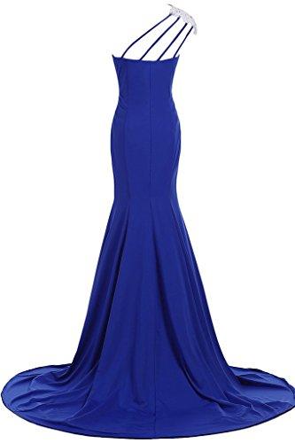 Sunvary Elegant Neu Ein-Traeger Chiffon Meerjungfrau Abendkleider Lang Applikation Ballkleider Partykleider 2016 Fuchsia