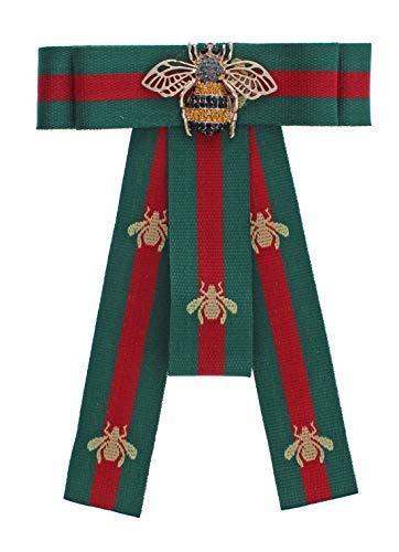 Blogger Fashion Schleifenbrosche Damen Brosche mit Strass versch.Modelle SB52 (M35 / Biene grün rot / 12x17 cm) -