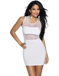 Minikleid Damen weiß S Oberteil Kleid Dress kurz