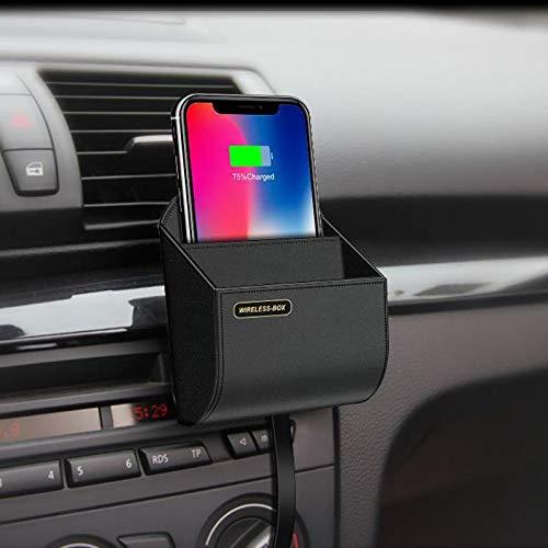 GTETUUES Car Storage Box Qi Caricatore senza fili per auto Caricabatterie per telefono senza fili Supporto per presa d'aria Portaoggetti Scatola portaoggett