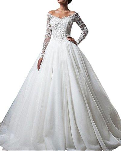 Ivydressing Damen Lang Aermel V-Ausschnitt Spitze Duchesse-Linie Hochzeitskleider...