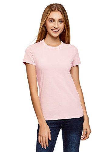 oodji Ultra Mujer Camiseta de Algodón con Cuello Redondo sin Etiqueta