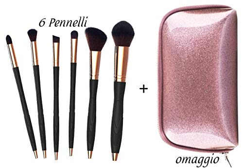 Set Pennelli Make Up Professionali Numb3rLine NEW-GENERATION Setole Naturali, Elegante Nero-OroRosa. Pennelli Maschera Viso. Pennelli Make Up Occhi. Cosmetici Trousse. Borsetta, Idea Regalo Donna.