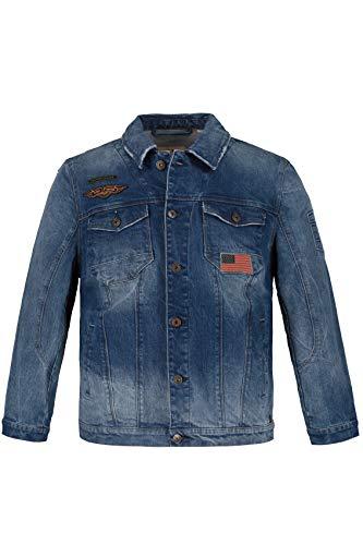 JP 1880 Herren große Größen bis 7XL, Jeansjacke, Army- und Flag-Badges, Ärmel mit Prägung, hell gewaschenes Knitterdenim, leicht ausgefranster Kragen, Blue Denim 6XL 720208 92-6XL