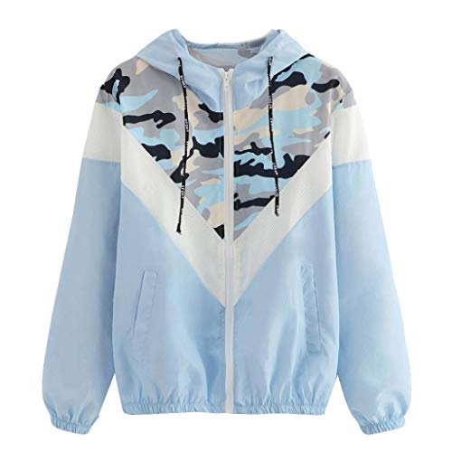 Longra Damen Camouflage Übergangsjacke Camo Military Jacke Leichte Herbstjacke Streetwear Kapuzenjacke mit Reißverschluss Damen...