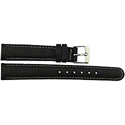 Watch Strap in Black Leather - 14mm - - buckle in Silver stainless steel - B14BlkItr24S