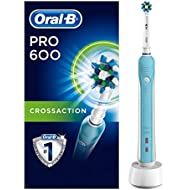 Oral-B Pro 600 CrossAction Electric Toothbrush Rechargeable Powered by Braun, 1 Handle, 1 Toothbrush Head, 2 Pin UK Plug