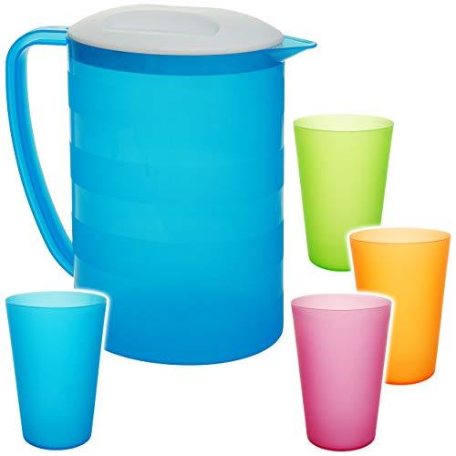 alles-meine.de GmbH 5 TLG. Set: 2 Liter - große Kanne / Krug / Getränkespender mit Deckel + je 4 Trinkbecher - NEON blau - bunt - Karaffe Wasserbecher - Wasserkrug / Getränkekrug..