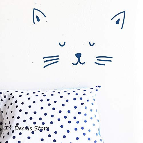 Fengdp Kitty Gesicht Wandaufkleber Schöne Katze Wandtattoos Baby Mädchen Room Decor Abnehmbare Selbstklebende Vinyl Aufkleber Kinder Tapete 65 * 42 cm (Room Mädchen Decor)
