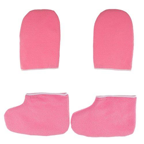 Gazechimp Paraffinwachs Spa Handschuhe und Socken Feuchtigkeitsspendende Füße und Hände Peeling Maske, Pflege Set, Rosa (Feuchtigkeitsspendende Fuß-spa)