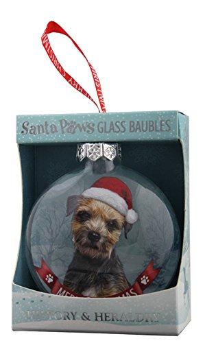 H&H, Weihnachtskugel aus Glas, Santa Paws, Motiv: Border Terrier mit Weihnachtsmütze -