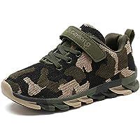 MAOGO Zapatos niños Niñas Deportivo Transpirable Malla con Parte Superior de Cuero cómoda Suave Cordones Zapatillas Sneakers