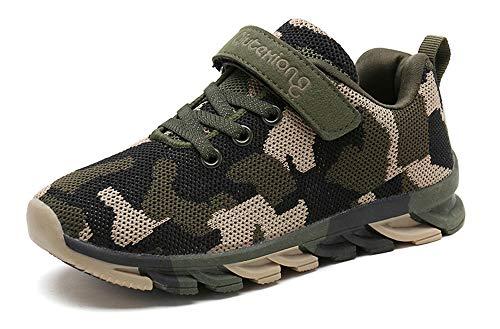 MAOGO Kinder Sneaker Camouflage Atmungsaktive Turnschuhe Strick Mesh Jungen Mädchen Straßenlaufschuhe Casual Kinder Schuhe (30, Grün)