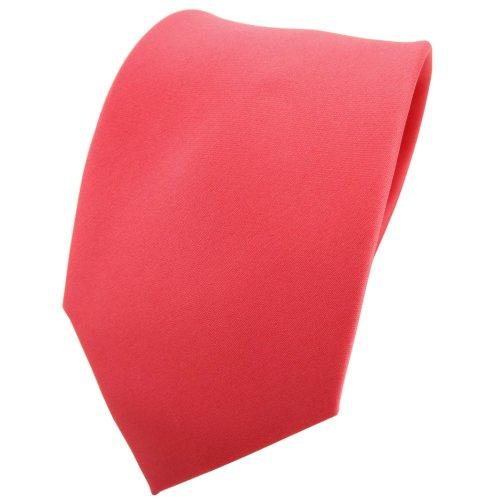 TigerTie Krawatte in rot rosé lachsrot einfarbig 100% Polyester - Tie Binder