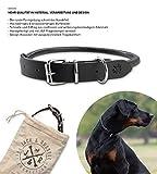 Jack & Russell Halsband Paris - Premium Leder Hunde Halsband echtes Leder Halsband schwarz Paris (L)