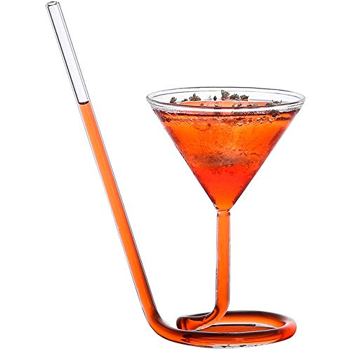 Vampire Wine Glass, Kreative Port Sippers Rotweinglas mit Trinkhalm Hand Champagner Rotweinschale Martini Becher 5,6-Unze oder Party Bar,1pcs - Port Sippers