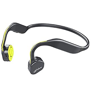 VIDONN F1(Yellow) Titanium Open-Ear Headphones (Bone Conduction Technology), Wireless with Bluetooth and Mic for Running Cycling Hiking