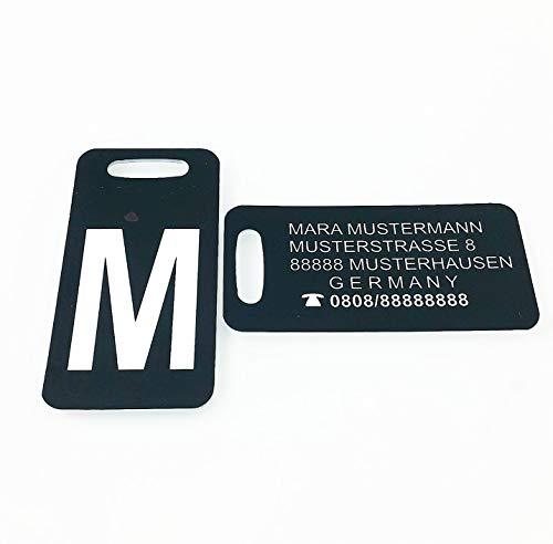 Stilvoll unterwegs, stylischer Look für ihr Reisegepäck. Toller Kofferanhänger, personalisiert mit Wunschbuchstabe und Adresse.