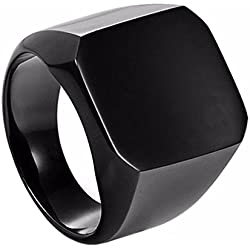 Sorella'Z Black Stainless Steel Square Ring For Men