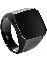 SORELLA'Z Black Stainless Steel Ring for Men