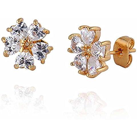 Yazilind elegante 14K Gold Filled Inlay corazón claro cúbicos Circonita flor Pequeño Stud Pendientes de Idea regalo de las