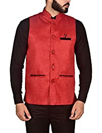 Amazon In Red Nehru Jackets Ethnic Wear Clothing Accessories