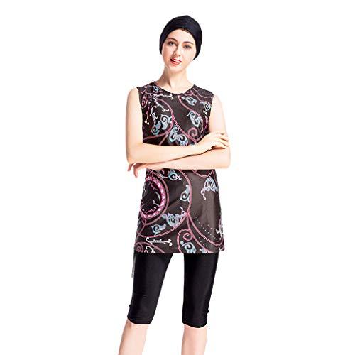 TEBAISE Burkini Muslimischen Badeanzug Damen Frauen Muslim Bescheidene 2019 Modest Swimwear Islamischen Arab Badebekleidung Kurzarm Top + Hosen + Hijab Ramadan Badeanzug Beachwear für Frauen