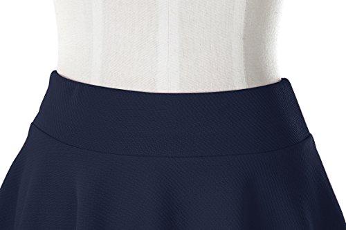 Urbancoco Damen Mädchen Basic Solid vielseitige dehnbaren informell Mini Skater Rock navy blue-lange