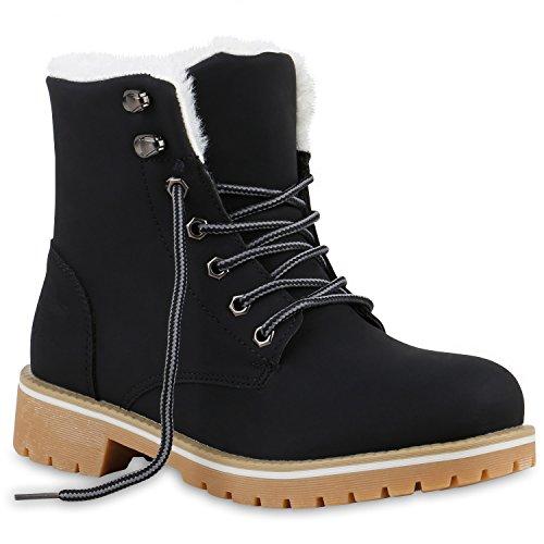 Warm Gefütterte Damen Stiefeletten Fell Worker Boots Outdoor Schuhe 123674 Schwarz Weiss 39 Flandell