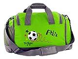 Mein Zwergenland Multi-Sporttasche in Lime Grün mit Schuh- und Feuchtfach mit Name, 41 L, Fußball Torjäger 19
