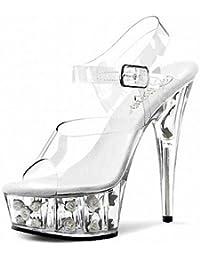 RTRY Zapatos De Mujer Transparente De Pvc/Primavera/Verano Tacones Peep Toe/Plataforma/Sandalias Boda/Parte &Amp; Noche/Ocasionales Stiletto Talón White Us8 / Ue39 / Uk6 / Cn39
