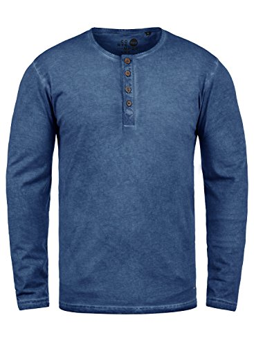 !Solid Timur Herren Longsleeve Langarmshirt mit Grandad- Ausschnitt Aus 100% Baumwolle Slim Fit Meliert, Größe:S, Farbe:Faded Blue (1542) (Baumwoll-baseball-tee)