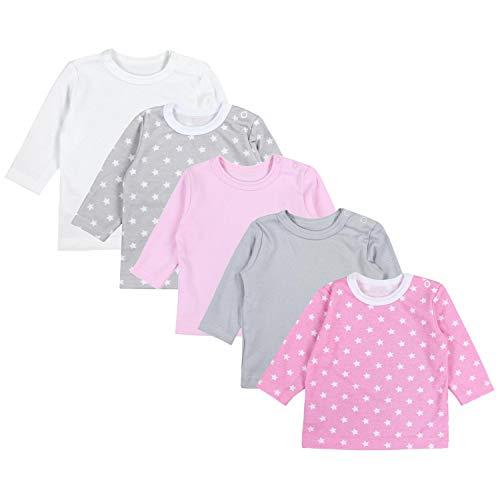 TupTam Baby Mädchen Langarmshirt Sterne 5er Pack, Farbe: Farbenmix 1, Größe: 62