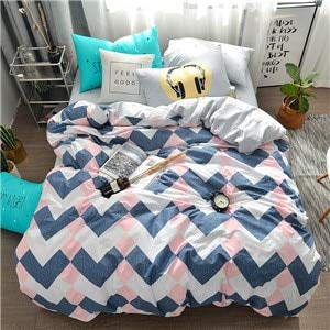 RONGXIE Rosa Herzdruck Einfache Artbettwäschesatz Baumwollgewebe 3 / 4pcs Twin Queen Size Bettbezug flaches Blatt Kissenbezug -