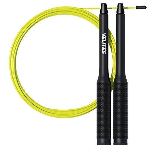 Cuerda de saltar lastrada para Crossfit, Boxeo y Fitness Vropes Fire 2.0 por VELITES | Comba de velocidad de aluminio (Lastres no inculidos)