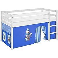 Preisvergleich für Lilokids JELLE2054KW-PIRAT-BLAU-S Spielbett Jelle Pirat, Hochbett mit Vorhang Kinderbett, Holz, blau, 208 x 98 x 113 cm