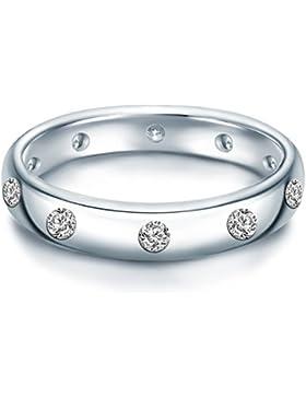 Tresor 1934 Damen-Ring Sterling Silber Zirkonia weiß im Brillantschliff - Verlobungsring Silberring Damen mit...