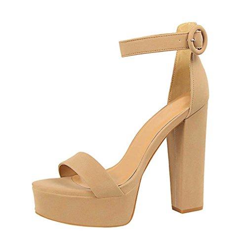 33c25cc805e4ae OALEEN Sandales Ouverte Femme Bride Cheville Talon Haut Bloc Chaussures  Soirée Plateforme